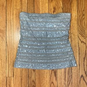 Express sequined beige tube top